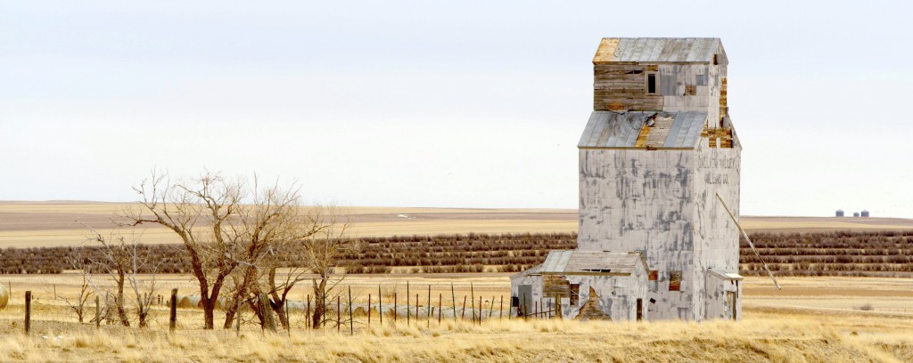 abandoned grain elevator near Freezeout Lake, Montana