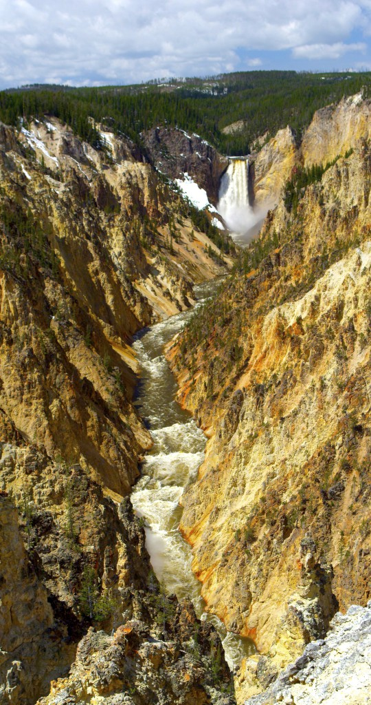 """The waterfalls in Yellowstone were videographer Mike Dreesman's first experiments with shooting vertical footage using the RED Epic video camera. Even though he didn't he didn't have the right equipment, he still gave it a shot because """"the different waterfalls cry out"""" for that kind of experimentation."""