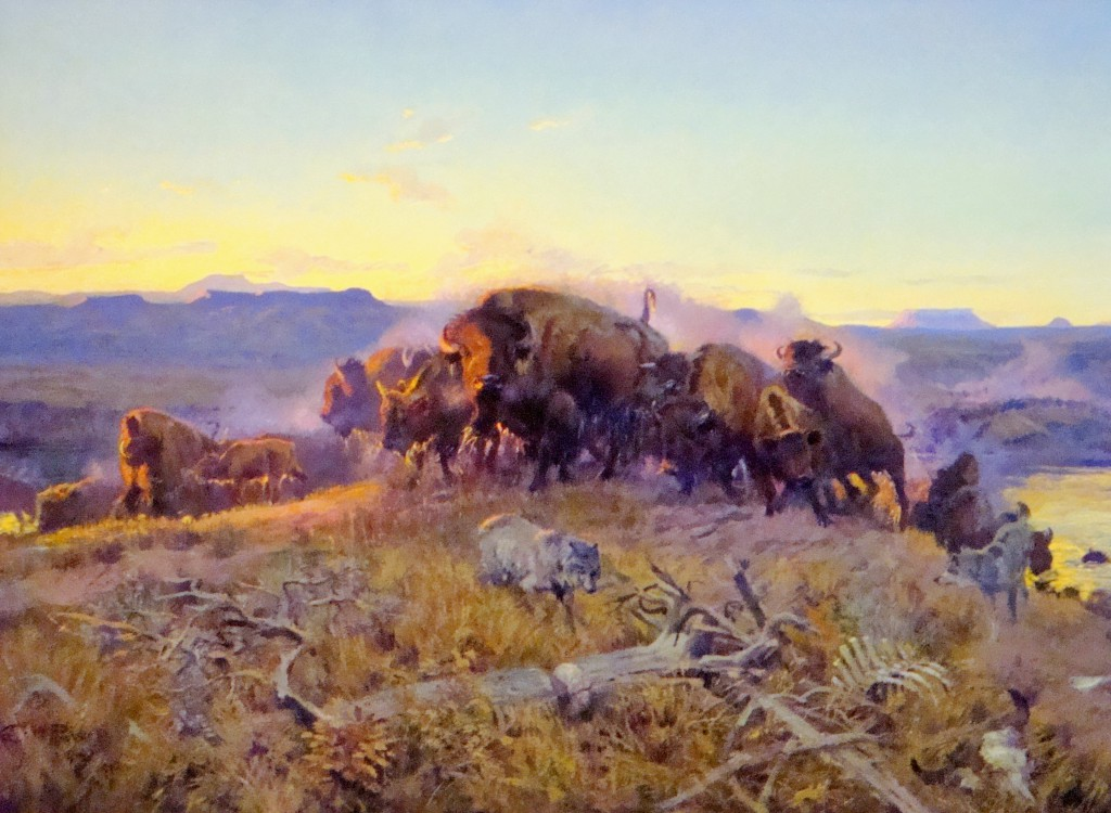 "Charlie Russell's famous painting ""When the Land Belonged to God"" depicts Montana as it would have looked before the time of Lewis and Clark."