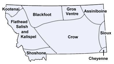 A basic map of the territories of the various tribes of Montana. From http://education-portal.com/academy/lesson/blackfoot-tribe-history-facts-beliefs.html#lesson