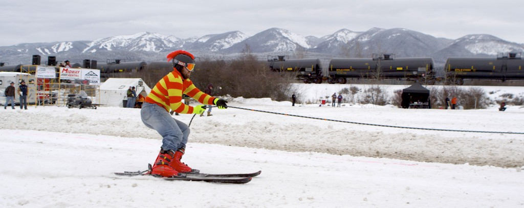 Skijoring in Whitefish, Montana, winter 2014