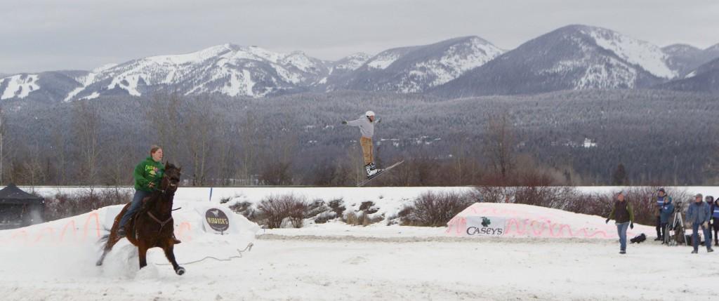 Skijoring in Whitefish, Montana, winter 2014