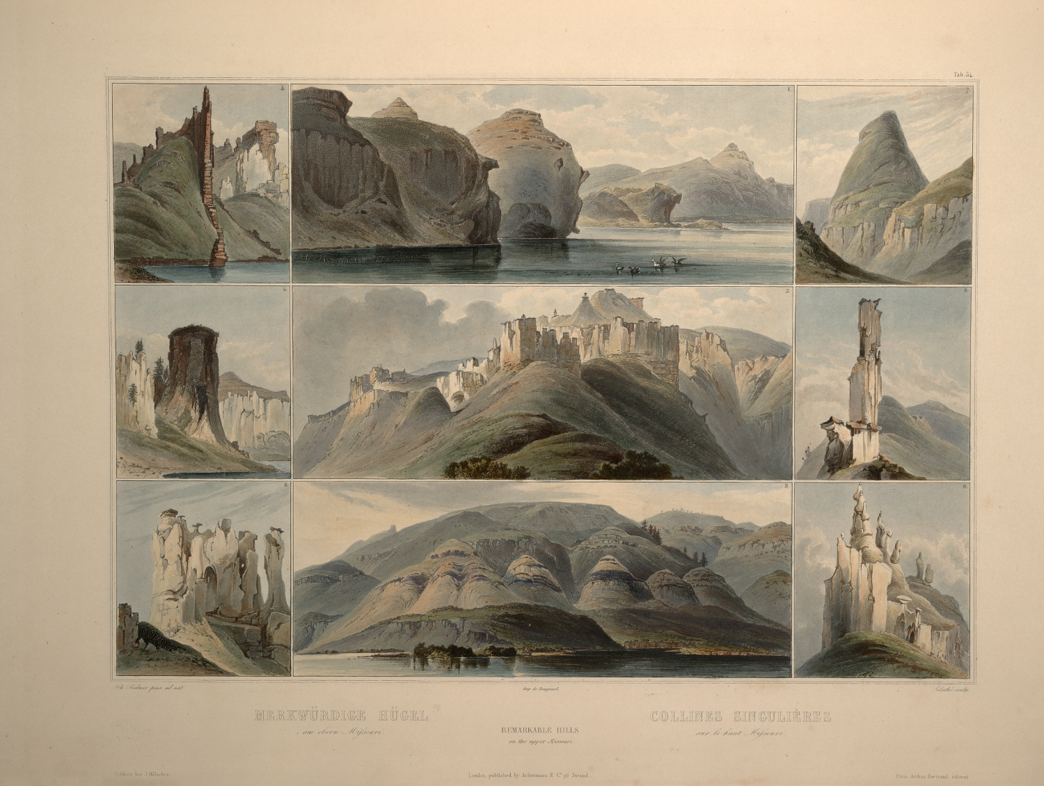 Karl Bodmer. Remarkable Hills on the Upper Missouri. From the Old Book Art Gallery.